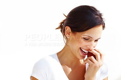 Buy stock photo Healthy young woman eating a red apple and smiling against white background