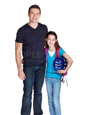 Buy stock photo Portrait of a sweet young girl going to school with her father against white background