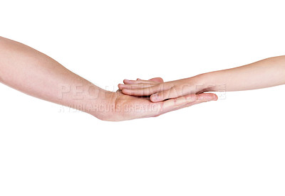 Buy stock photo Portrait of a young man giving hand to his daughter against white background