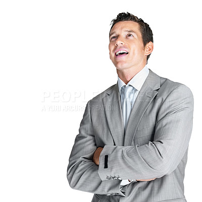 Buy stock photo Portrait of a handsome young business man looking upwards at copyspace against white background