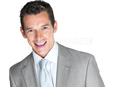 Buy stock photo Closeup portrait of a confident young male business executive looking happy against white background