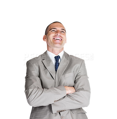 Buy stock photo Portrait of a smiling young male entrepreneur looking at copyspace against white background