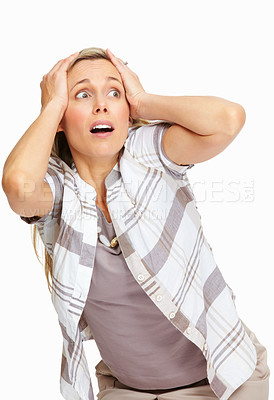 Buy stock photo Portrait of stressed female executive standing on white background with hands on head