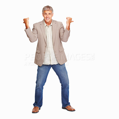 Buy stock photo Studio shot of a mature man gesturing against a white background