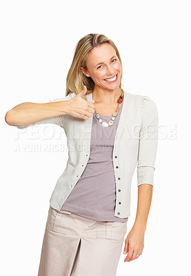 Buy stock photo Happy business woman showing thumbs up on white background