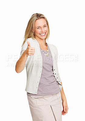 Buy stock photo Caucasian woman giving thumbs up over white background