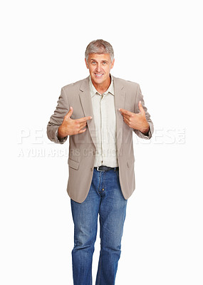 Buy stock photo Studio shot of a friendly mature man against a white background