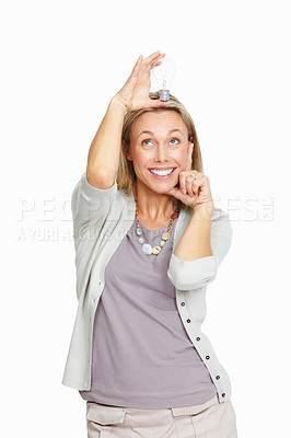 Buy stock photo Portrait of beautiful business woman with bulb over her head on white background