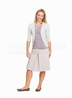 Buy stock photo Full length of positive business woman smiling over white background