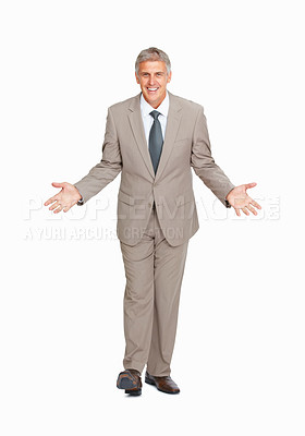 Buy stock photo Full length of business man not sure about something on white background
