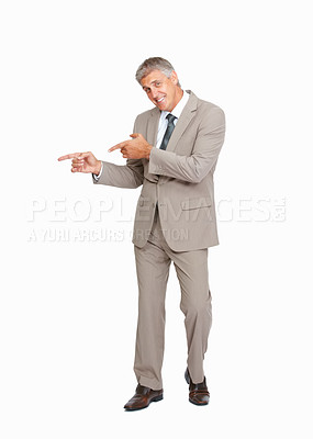 Buy stock photo Studio shot of a mature businessman gesturing against a white background