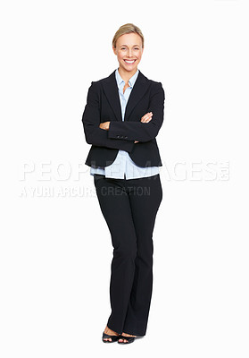 Buy stock photo Full length of happy successful business woman over white background