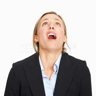 Buy stock photo Portrait of worried business woman looking upwards on white background
