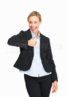 Buy stock photo Happy smiling business woman with thumbs up gesture on white background