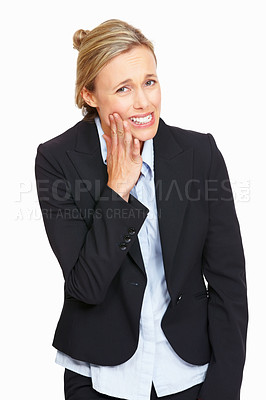 Buy stock photo Beautiful business woman suffering from toothache on white background