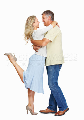 Buy stock photo Full length of mature couple in love on white background