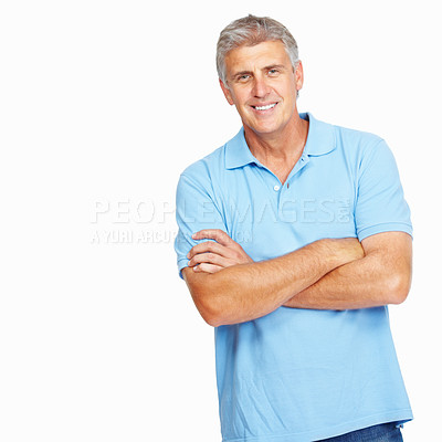 Buy stock photo Portrait of happy mature man smiling with arms crossed on white background - copyspace