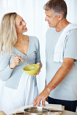 Buy stock photo Portrait of man and woman preparing food with recipe book in kitchen at home