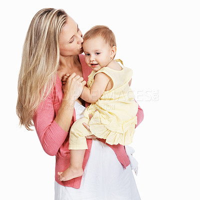 Buy stock photo A loving mother with her child against a white background