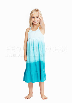 Buy stock photo Full length of smiling young girl pointing at you over white background