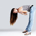 An attractive young female model posing