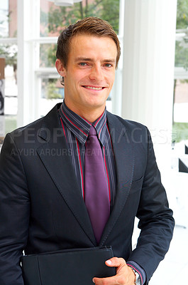 Buy stock photo Satisfied smiling businessman