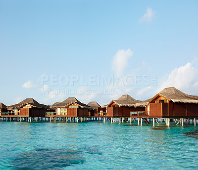 Buy stock photo Image of a water bungalows of hotel on the tropical island - Paradise for holiday