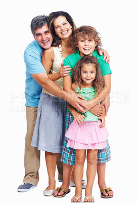 Buy stock photo Portrait of parents with their two kids standing in row on white background