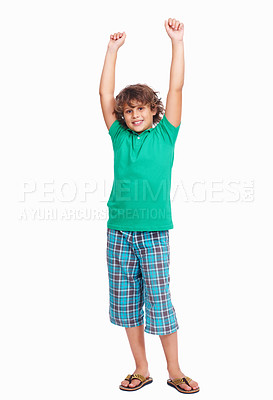 Buy stock photo Portrait of a little boy raising hands isolated on white background