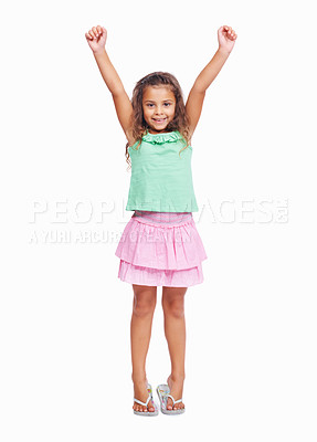 Buy stock photo Portrait of a little girl raising hands isolated on white background