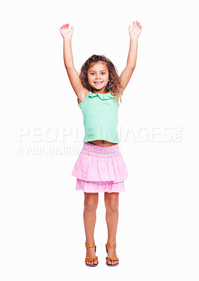 Buy stock photo Portrait of little girl raising hands isolated on white background