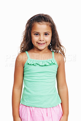 Buy stock photo Closeup portrait of cute little girl standing isolated on white background