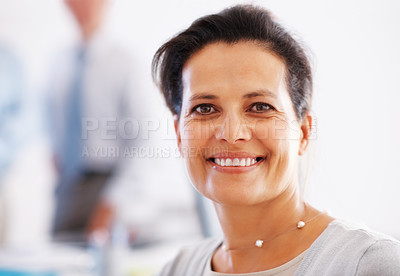 Buy stock photo Closeup of beautiful business woman with a warm smile