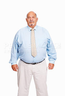 Buy stock photo Portrait of senior business man standing on white background