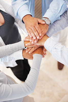 Buy stock photo Closeup of group of business people with hands together