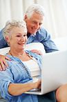 Happy senior woman using laptop with her husband
