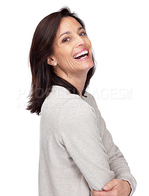 Buy stock photo Portrait of a beautiful lady standing with folded hands and laughing against white background