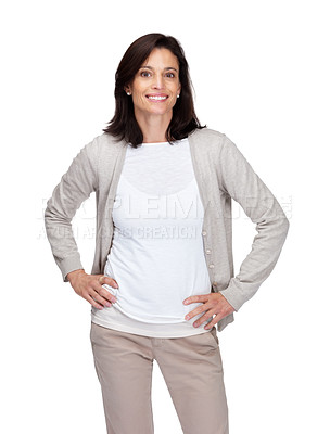 Buy stock photo Portrait of a happy mature woman standing isolated on white background
