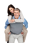 Joyful mature couple in playful mood on white