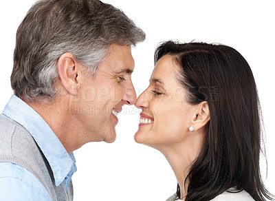 Buy stock photo Portrait of a happy mature couple looking  at each other against white background