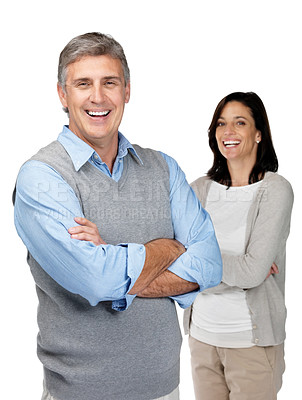 Buy stock photo Portrait of cute mature couple standing with folded hands against white background