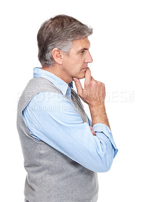 Buy stock photo Portrait of a mature man lost in deep thought against white background