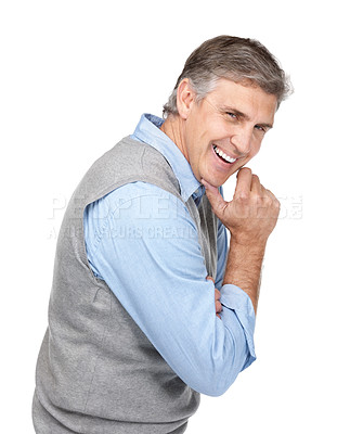Buy stock photo Portrait of a relaxed mature man looking happy against white  background
