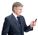 Happy mature businessman texting form his mobile
