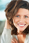 Closeup of a young attractive woman smiling