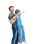 Happy father and son playing on white background