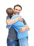 Caring young man hugging his son against white background