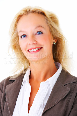 Buy stock photo Portrait of a mature businesswoman smiling at the camera isolated on a white background
