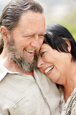 Buy stock photo Portrait of a romantic senior old couple enjoying together - Outdoor