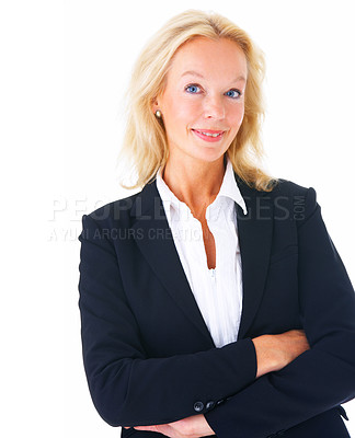 Buy stock photo Studio portrait of a mature businesswoman isolated on white